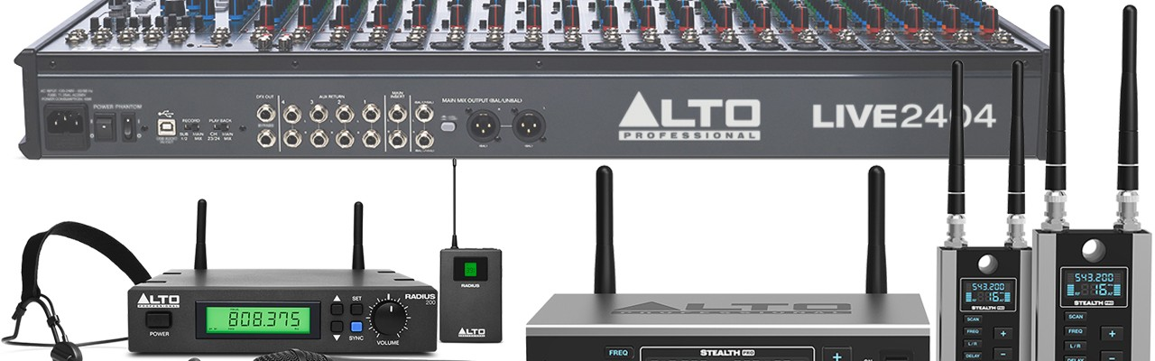 AltoProfessional Namm  LIVE Sound Mixer Wireless Microphone spekaer amp crossover eq